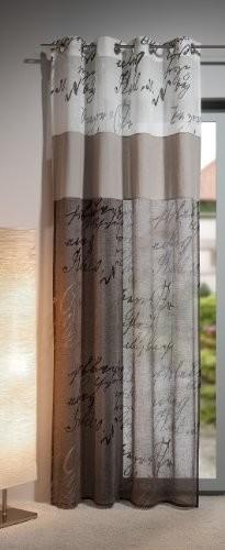 Gardine, Ösenschal,140cm x 245 cm weiß / taupe, Calligraphie 20, 3-teilig, halbtransparent , elegant