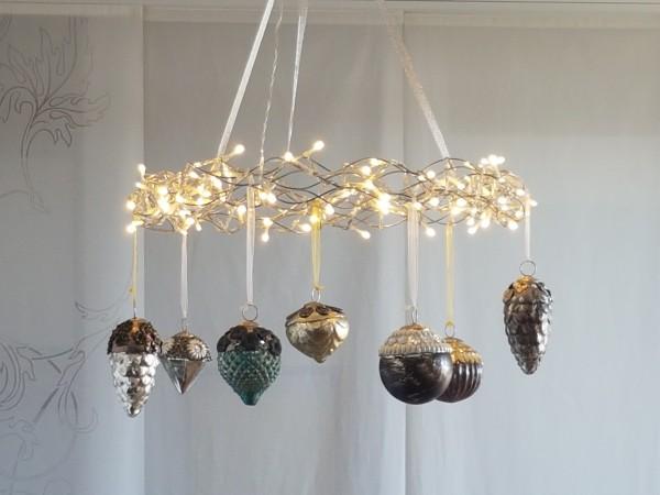 Adventskranz LED mit Glasschmuckkugeln - Komplettset
