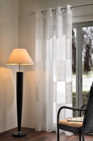 Gardine Ösenschal 140 x 245cm weiß/weiß hochwertiger Ausbrenner Top Qualität von Heco Textilverlag