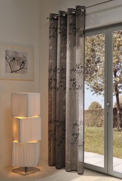 Gardine, Ösenschal,140cm x 245 cm taupe farbig, Script , halbtransparent, elegant weich fließende ho