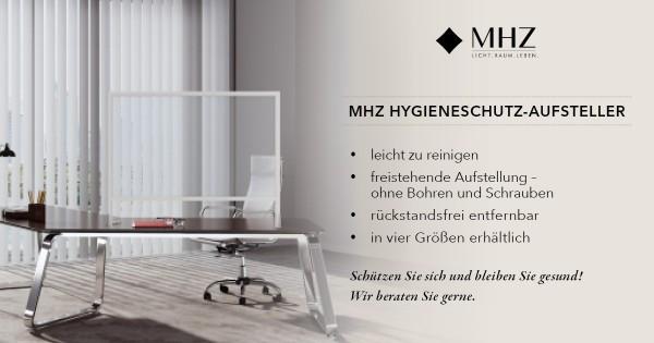 MHZ Hygieneschutz Aufsteller Hygieneschild aus Polycarbonat mit eloxiertem Aluminiumrahmen